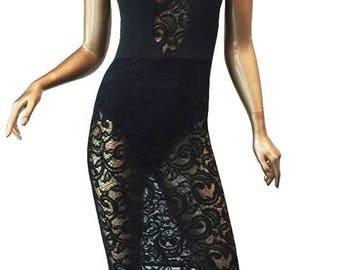 Sheer Lace Knit Insert Sleeveless Midi Dress/Custom Women Sheer Lace Sleeveless Midi Dress