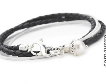 Bracelet engraved with 2-IN-1 LYHO 925 Silver leather bracelet name Pearl