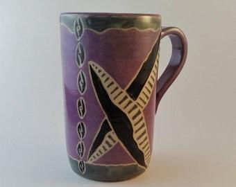 Pottery mug, Coffee mug, hand carved , sgraffito, gift under 25