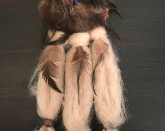 Vintage Dream Catcher, Wool Dream Catcher, Native American Decor, Dream Catcher, Native American Art, Feather Dream Catcher