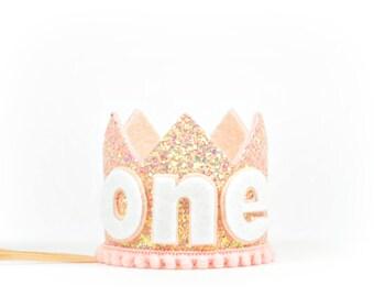 First Birthday Gift | Birthday Crown | Girl Glitter Crown | Birthday Party Hat | Birthday Hat | Blush Glitter Crown | 1st Birthday