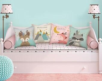 Woodland nursery throw pillow set, Set of 4 pillows for nursery, Pillow set of 4, Forest Animal pillows, Forest animal set, Cute animal gift