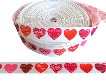 "Hearts ~ Valentine's Day ~ Grosgrain Ribbon  ~7/8"" ~ 7/8 inch"