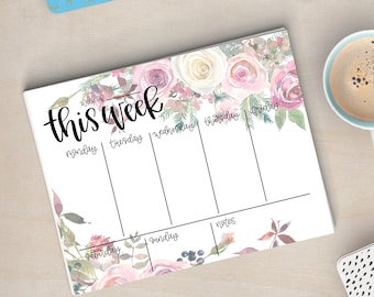 Printable Ivory & Pink Floral Weekly Planner - Instant Download, Flowers, Greenery, Calendar, To Do List, Desk, Office Accessories, Agenda