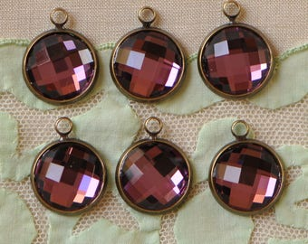 Glass Faceted Amethyst  Drops 12 mm Rhinestone Round Bezel Set Charms Pendants Purple Stones Brass Setting 2 Pieces