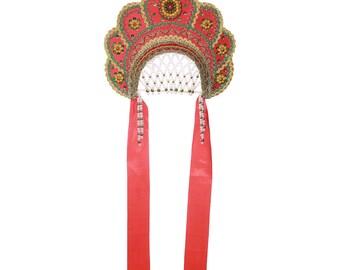 "Russian Traditional Folk Costume - Headdress Kokoshnik ""Elena"" red #382"