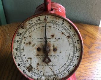 Antique Red 1907 Columbia Family Scale- Landers Frary & Clark