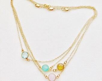 Gold Bezeled Gemstone Necklace