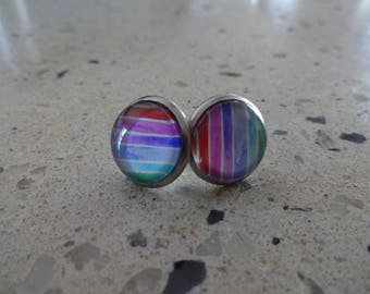 Stainless steel - 12 mm glass Cabochon earrings