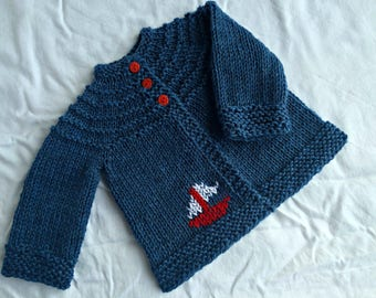 Baby boy sweater, hand knit baby cardigan, baby boy shower gift, baby boy