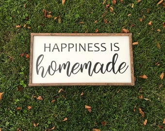 Happiness Is Homemade Wood Sign, Framed Sign, Home Decor, Housewarming
