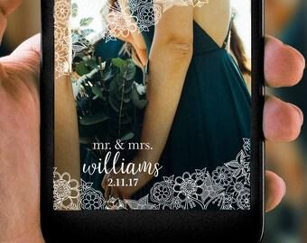 Rustic Vintage Floral Wedding Bridal Shower Snapchat Filter