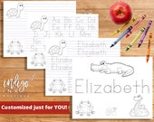 Customized Printable Coloring Page | Handwriting Practice Kids Worksheet | First Grade Letter Writing Paper | Handwriting Worksheet DIGITAL