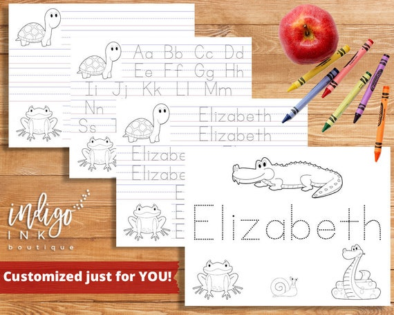 Customized Printable Coloring Page Handwriting Practice Kids