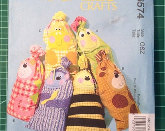 Uncut Sewing Pattern - McCall's M6574 Animal drawstring bag