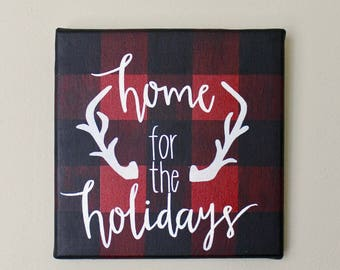 Home For The Holidays Plaid Canvas