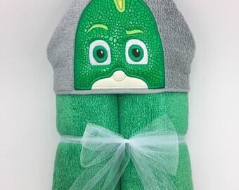 Gekko Hooded Towel - FREE PERSONALIZATION! - PJ Masks- Gecko Towel