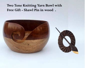 Mango sheesham wood yarn bowl