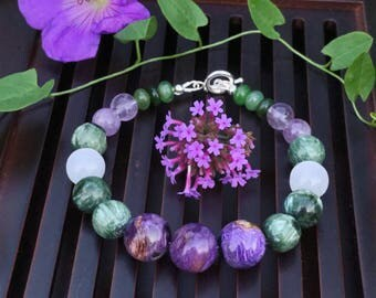 12mm Charoite/Seraphinite/White Selenite/Lavender Quartz/Nephrite/925 Sterling Silver Bracelet. Healing Natural Gemstone Bracelet.