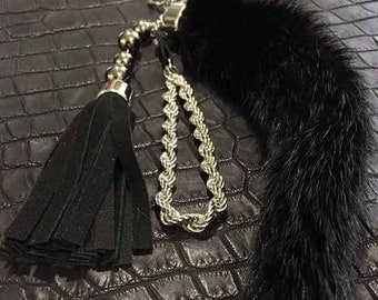 Mink Tail Keychain Real Leather by Felix Rodionov