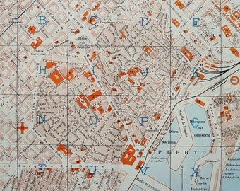 1900 Antique city map of BARCELONA, SPAIN. Catalunya. 118 years old town map