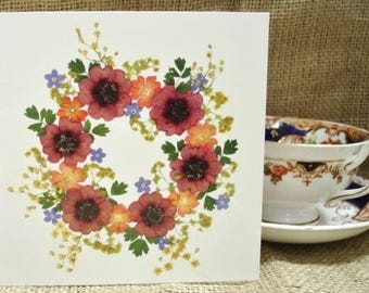 Blank Card, Gift Card, Wedding Card, Birthday Card , Cards for Gardeners, Congratulations Card, Thank You, English Pressed Flower PRINT