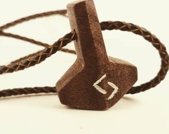 Wooden Thor's Hammer Pendant and Necklace