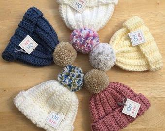 boys baby pompom hat,  girls baby pompom hat, 0-3 Months pompom hat, Chunky Baby Pompom Hat, crochet pom-pom hat, bobble hat, baby bobble