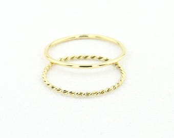 Solid Gold Ring / Stacking Set of Rings / Wedding Ring Set/  14k Gold Wedding Band Set / 1MM Round Wedding Band with 1MM Twisted Rope Ring