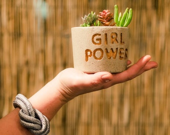 Valentine's day gift, GIRL POWER Concrete Planter, Includes Succulent, Gift idea, Feminist gift, Custom planter,  Succulent Planter