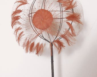 Vintage 50s feather fascinator / copper netted feather hat / beaded feather hat