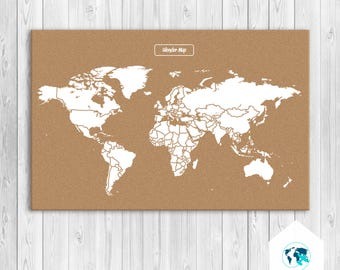 Cork world map etsy cork world map world map push pin world map artwork push pin cork gumiabroncs Image collections
