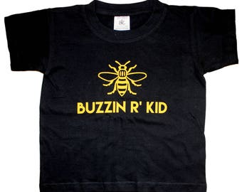 BUZZIN R' KID Black Kids T-Shirt - Produced in the UK Vinyl Print - Manchester Bee Manc and Proud Yellow Northern Hacienda Madchester