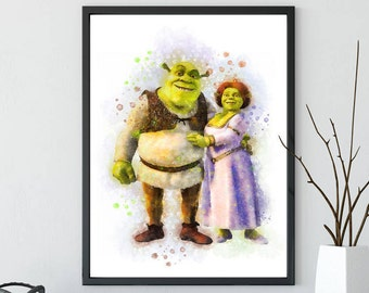 Shrek Print, Shrek and Fiona Wall Art, Shrek Printable, Fiona Print, Shrek Watercolor, Fiona Printable, Princess Fiona Poster, Shrek Poster