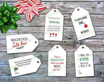 Funny Christmas Gift Tags JPG, png, pdf, svg, dxf, eps holiday printable Christmas files, die cut OR print out and cut by hand