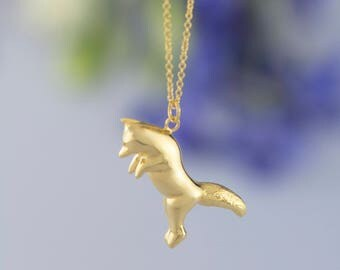Gold Jumping Fox Necklace. Hand Carved Design. Wildlife Personalised Animal Pendant by Rosalind Elunyd Jewellery