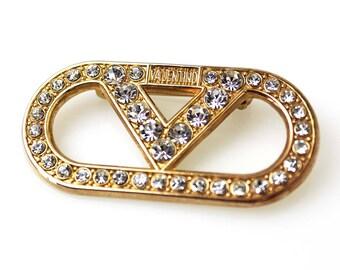 Valentino Vintage Rose Gold Tone Rhinestone Brooch Haute Couture Runway Designer Pin