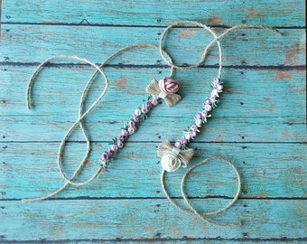 Vintage style tie back headband with rose