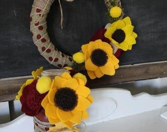 Fall Wreath and Felt Flower Arrangement