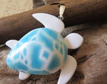 """Faux """"Larimar"""" turtle swimming pendant"""