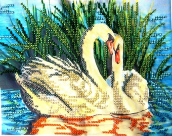 Cute beaded embroidery picture PAIR OF SWANS Embroidered birds Beaded wedding gift for couple Modern home wall kitchen art decor