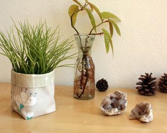 PROMO! Planter waterproof - planter fabric eco-friendly - Oddments - basket fabric - washable basket - flower pot blue beige tone