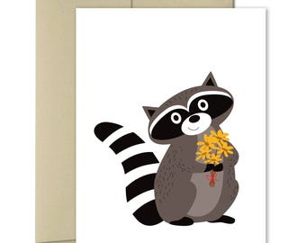 Thinking of you - Thank you Card - Just Because Cards - Get Well Cards - Good Luck Card - Congratulations - Sorry Card -Hello Card - Raccoon