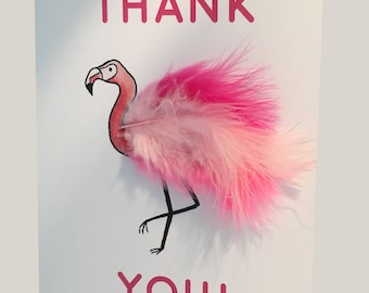 Fluffy Flamingo Feather Card (Various Occasions)