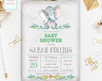 Elephant Baby Shower Invitation, Gender Neutral Invitation, Girl, Boy Jungle Safari Baby Shower Invite, Printable Baby Shower Invitation