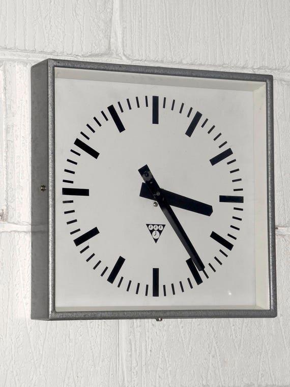 Czech Industrial 1960's Square Factory Clock By Pragotron