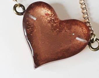 Heart Necklace, Rose Gold Heart, Valentine's gift, Love necklace, Resin heart Rose Gold Pink Shimmer, Friendship Necklace, Reversible