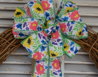 Spring Garden Bow. Spring Bow, Easter Bow. Flower Bow, Mother's Day Bow, Wreath Bow, Basket Bow, Gift Bow, Decorative Bow