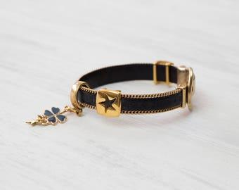 """Lucky charm bracelet, """"WISH BELIEVE DREAM"""", black, gold, trailer, clover, Luck Bracelet, Star pendant, gift of friendship"""