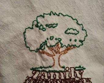 "Retro Kitchen Towel- Hand Embroidered ""Zamily Tree"""